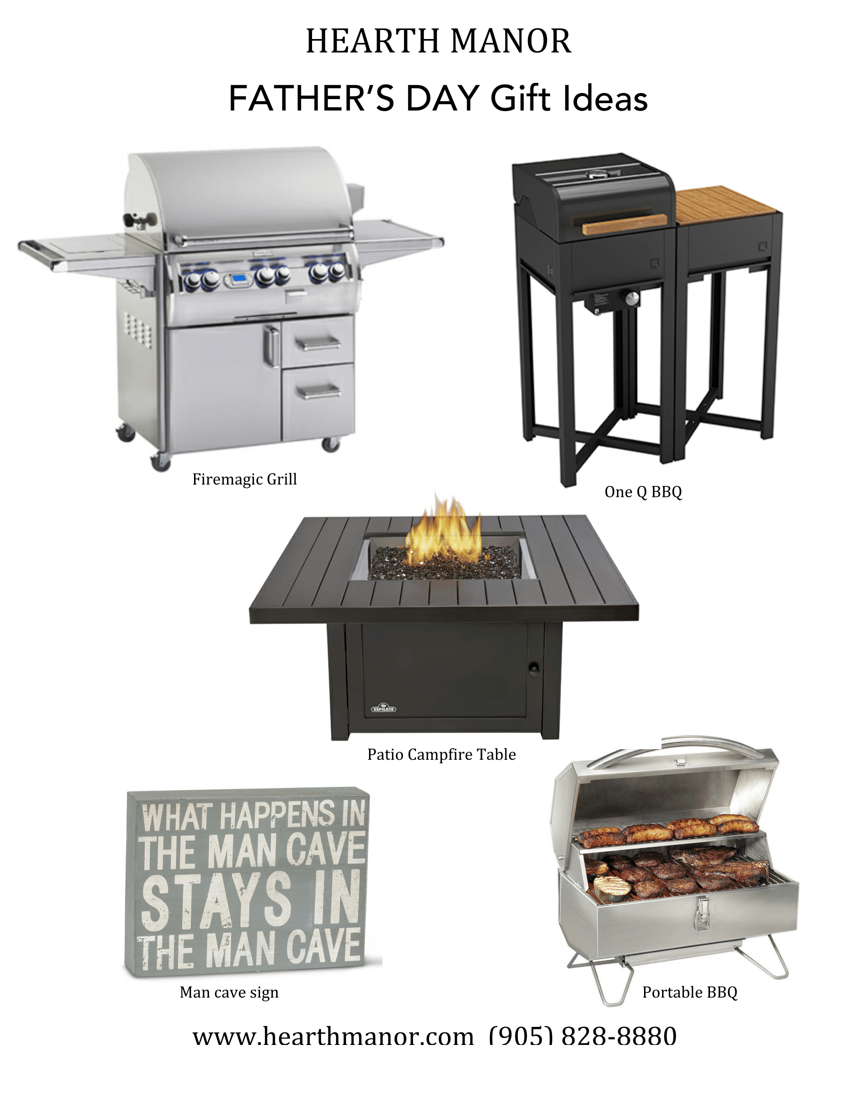 Fathers Day Gift Ideas. Firemagic Grill, Patio Table, Man Cave Sign, Portable BBQ