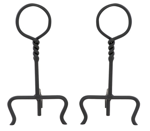 twisted iron andirons