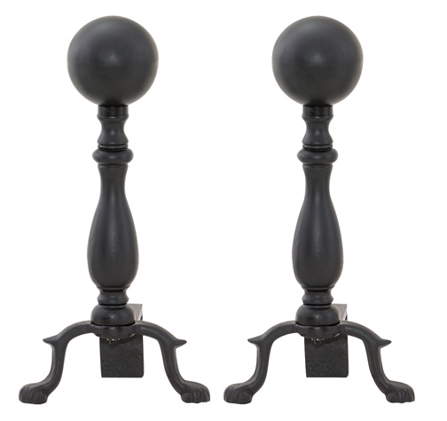 Black fireplace andirons