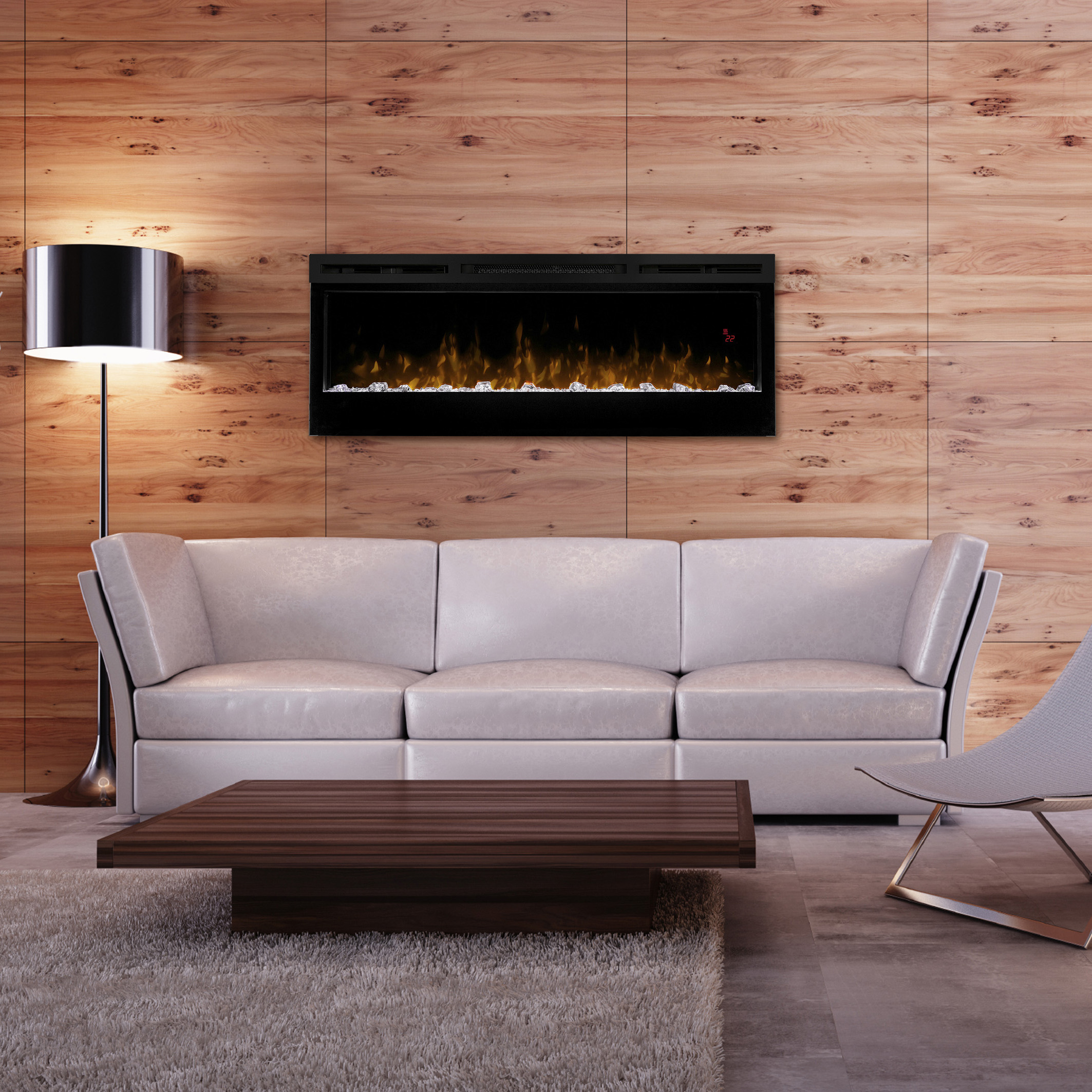 Dimplex 50 inch prism wall mounted fireplace in wooden room