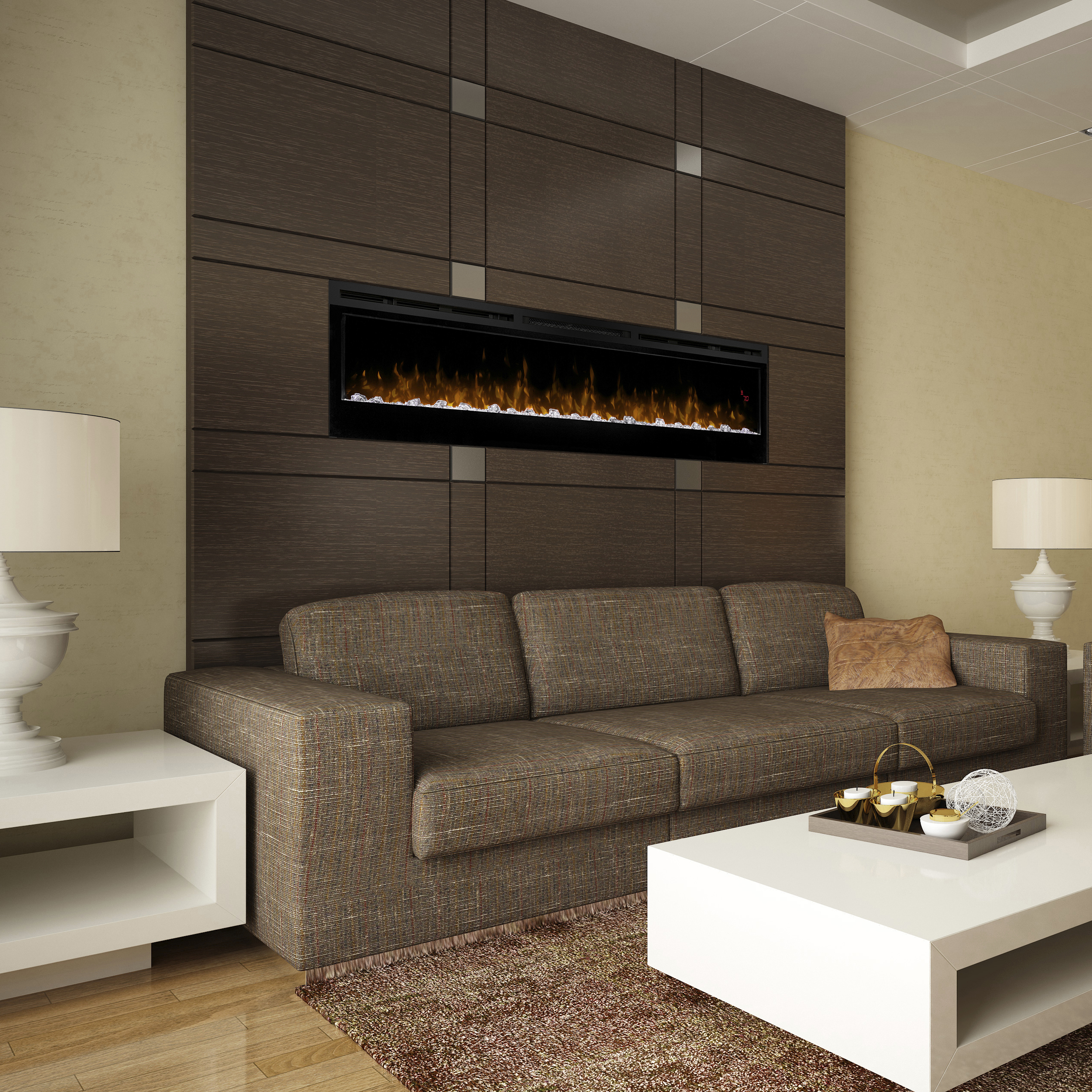 74 inch Prism Dimplex Wall Mounted Fireplaces in a Brown Themed Interior