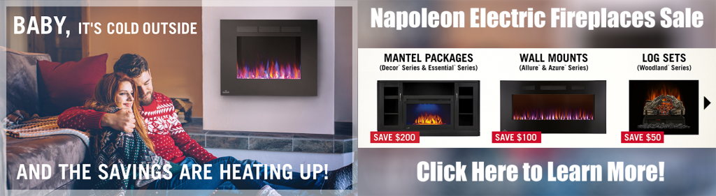 Baby its cold outside napoleon electric fireplace sale banner