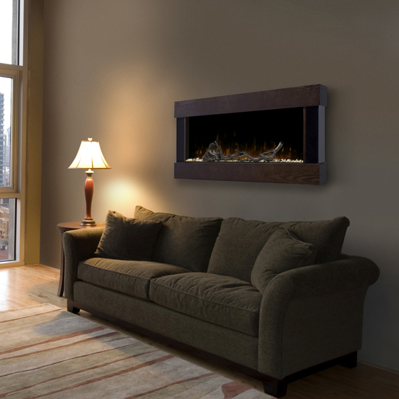 Chalet Wall Mounted Fireplace by Dimplex in a cozy room