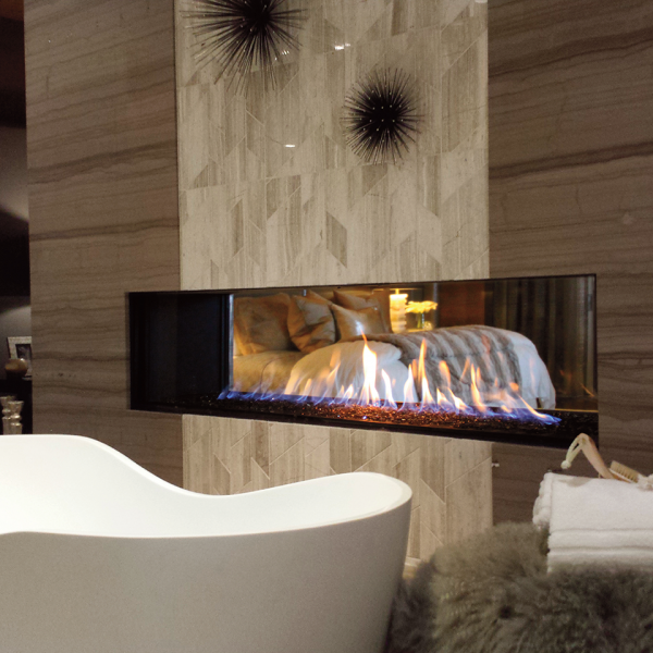 Clear 170 Tunnel gas fireplace by Ortal from Hearth Manor Fireplaces