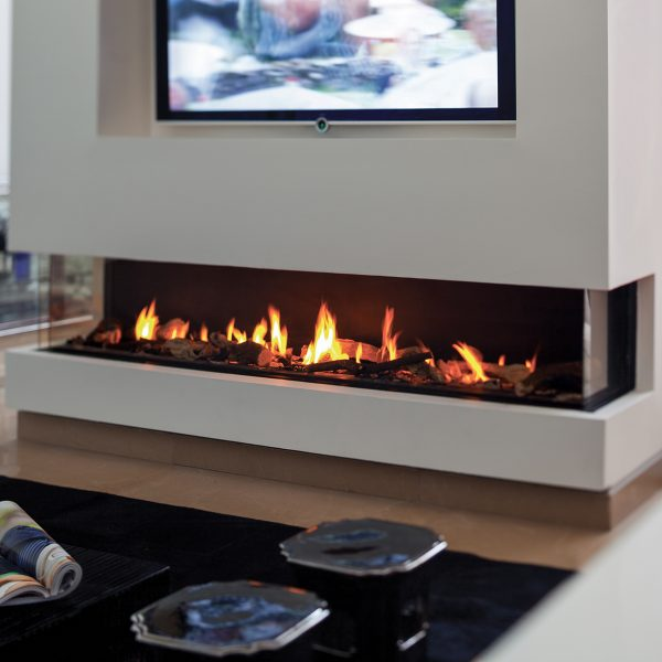 200 three sided gas fireplace by Hearth Manor Fireplaces
