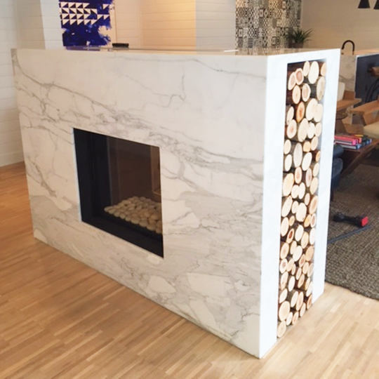 75x65 Clear Tunnel Gas Fireplace by Ortal from Hearth Manor Fireplaces