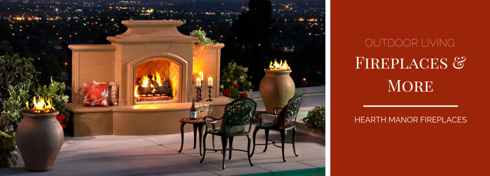 Cordova Outdoor Fireplaces with city backdrop