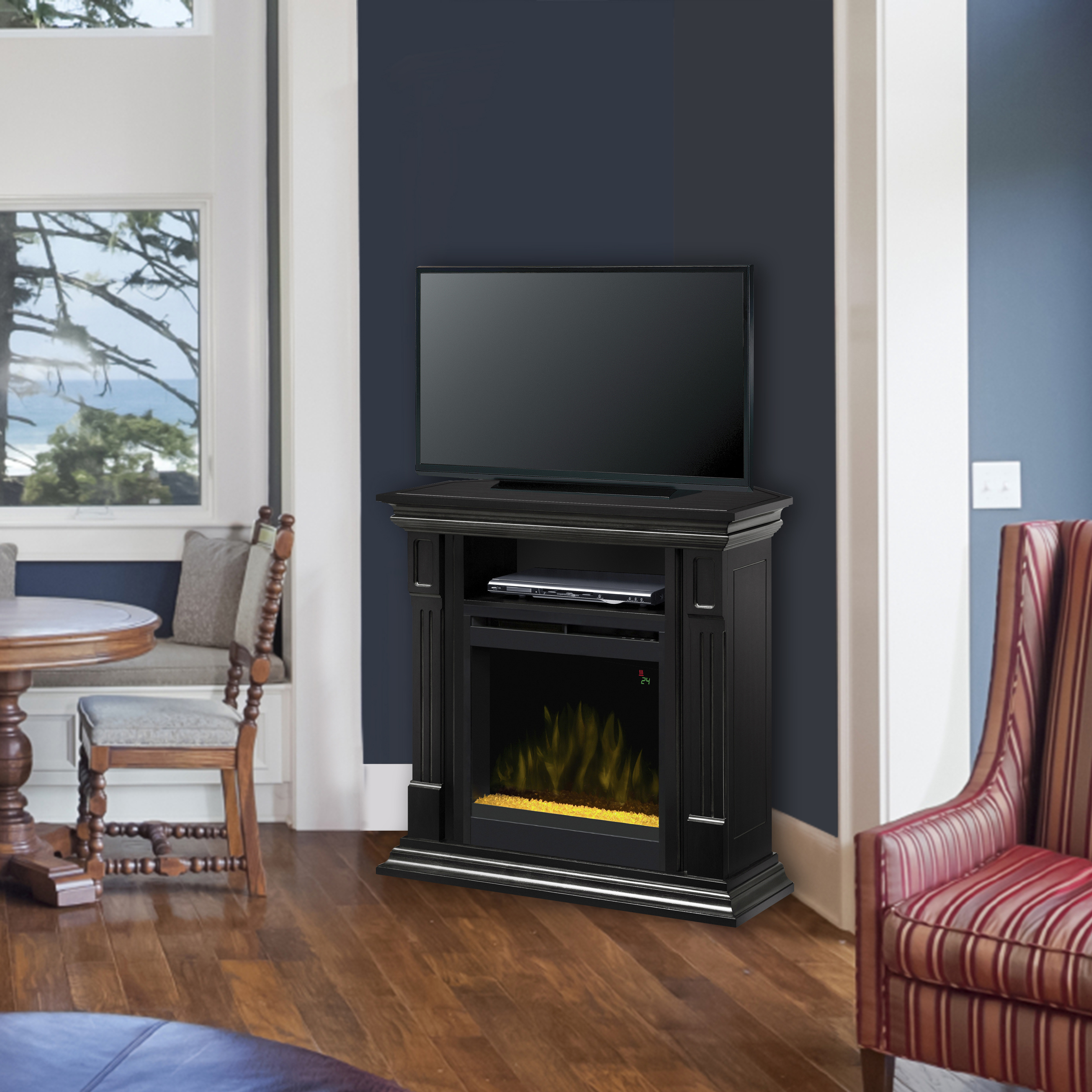Black Deerhurst Electric Fireplace Media Console by DIMPLEX