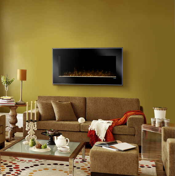 Dusk Wall Mounted Fireplace by Dimplex in a yellow room