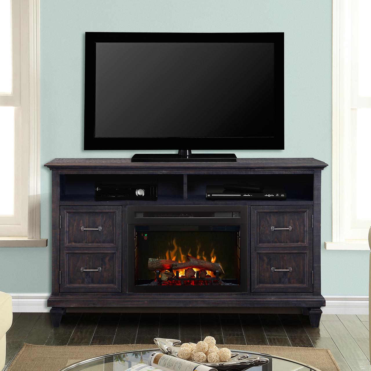 Solomon media console fireplace