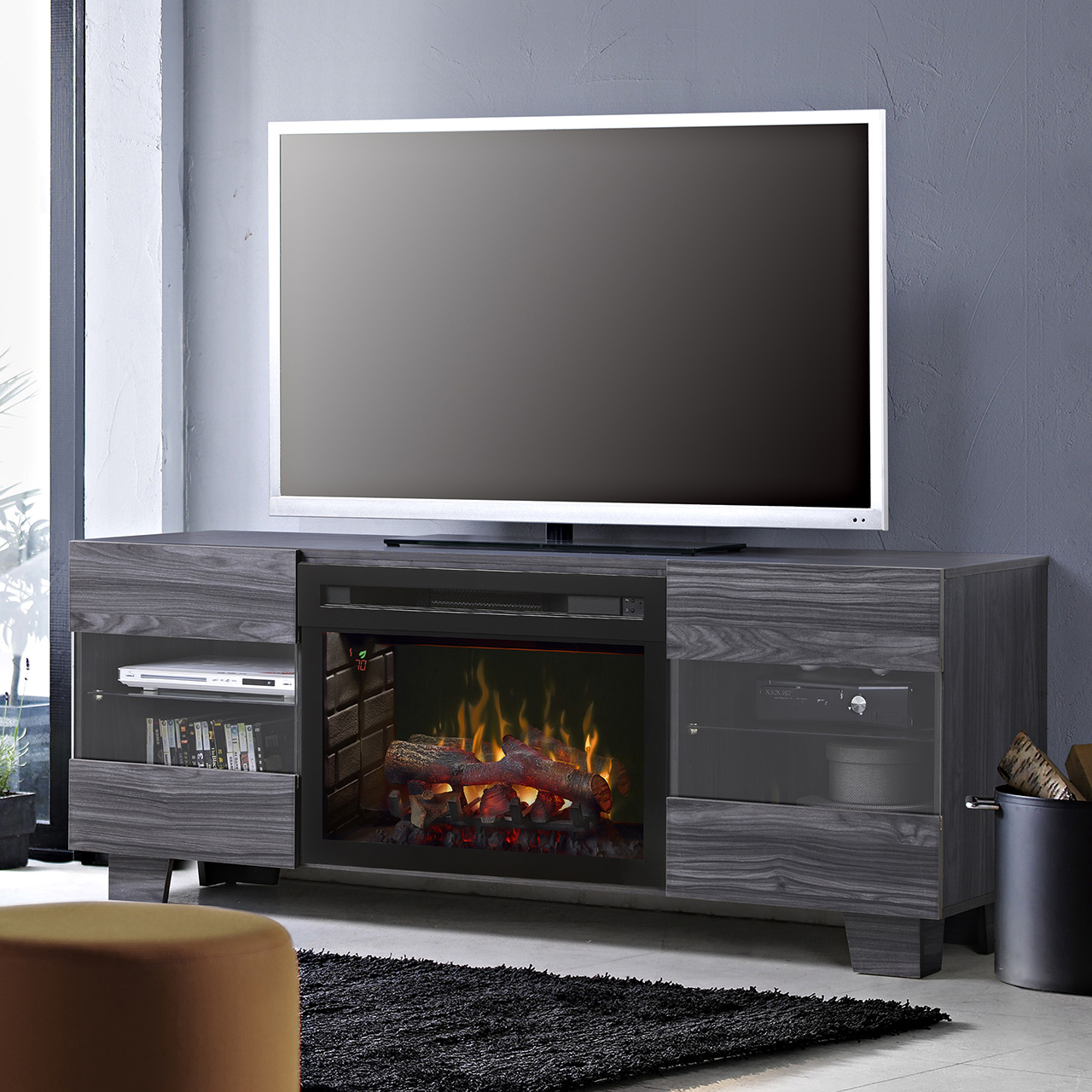 max media console fireplace
