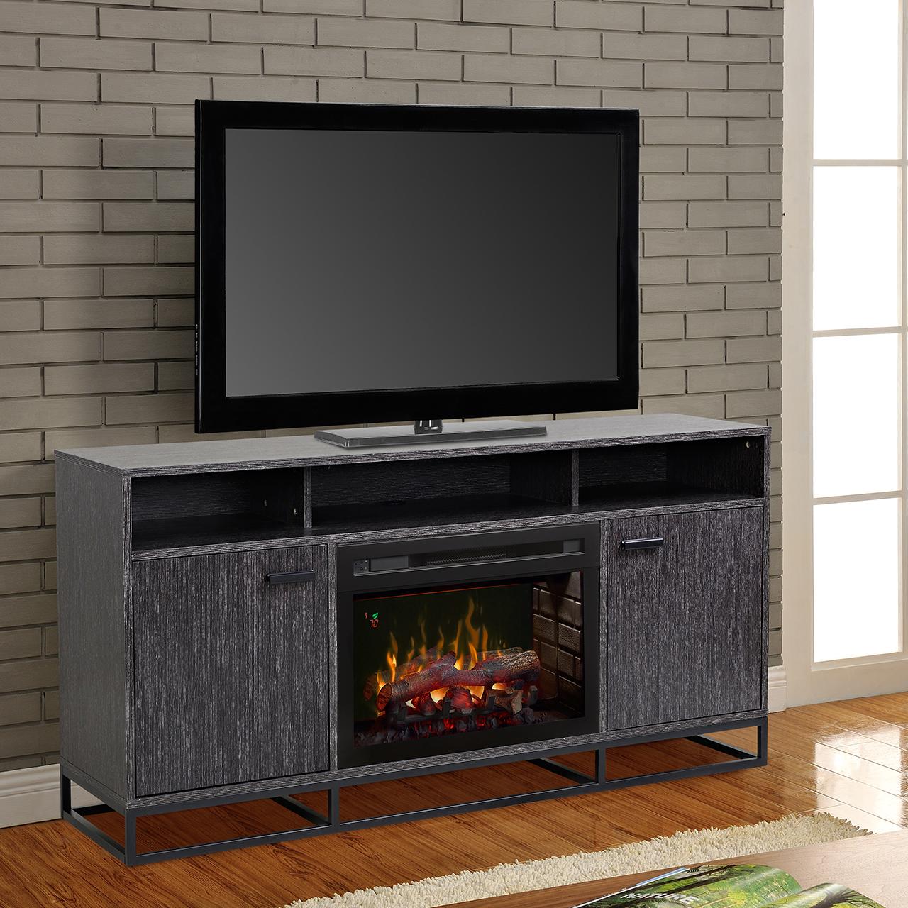 reily media console fireplace