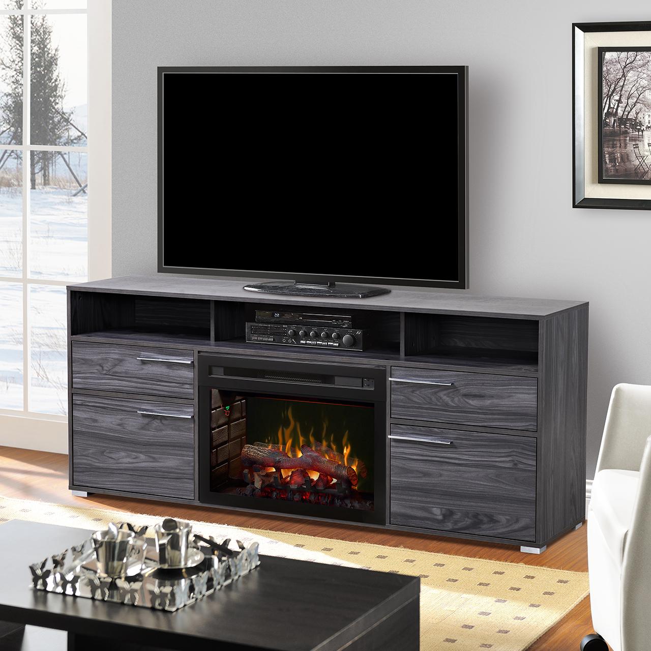 sander media console fireplace