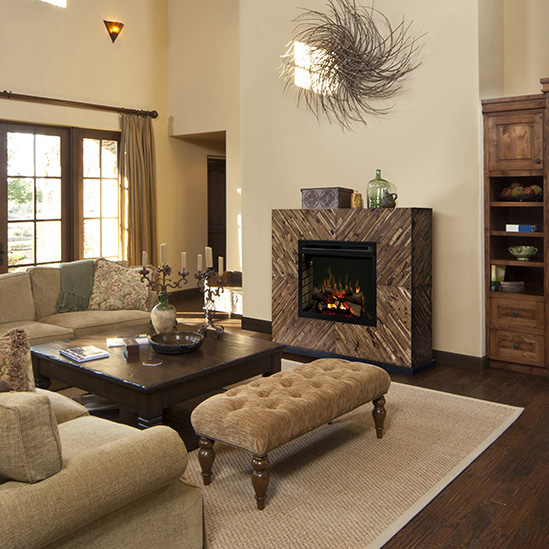 Harris Wooden Fireplace Mantel by Dimplex in a Contemporary Home