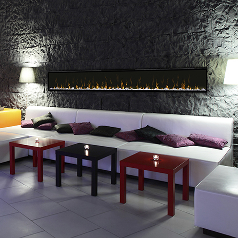 Ignite XL 100 Dimplex Wall Mounted Fireplace in a Restaurant