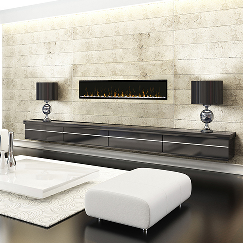 Ignite 74 Dimplex Wall Mounted Fireplace in a Modern Home