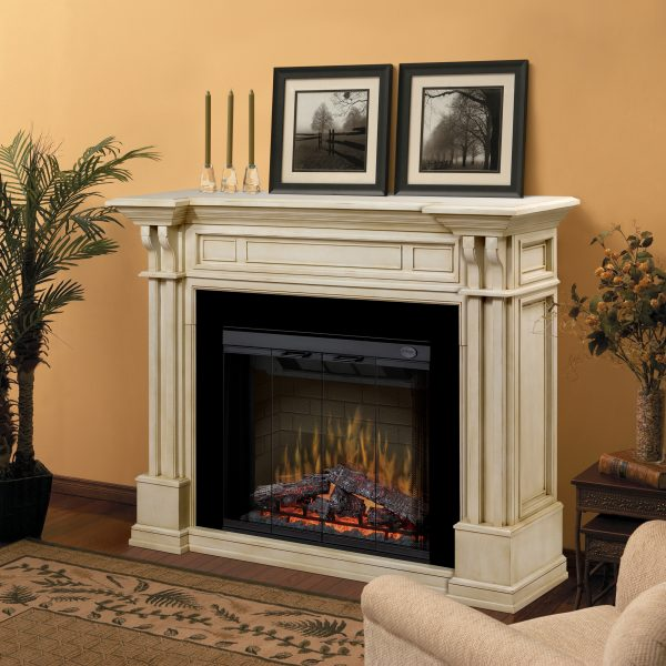 Kendal Parchment COlored Electric Fireplace Mantle by Dimplex in a Contemporary Home
