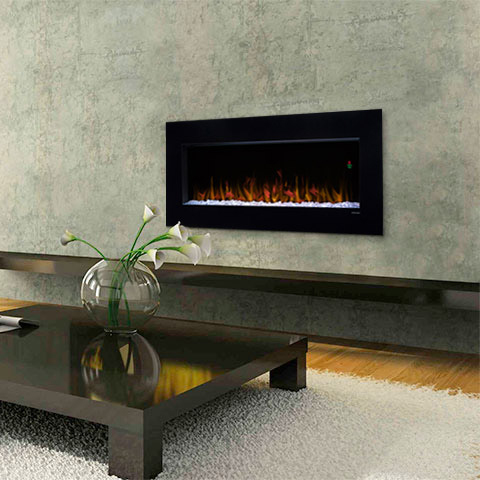 Nicole Wall Mounted Fireplace by Dimplex in a Green Room