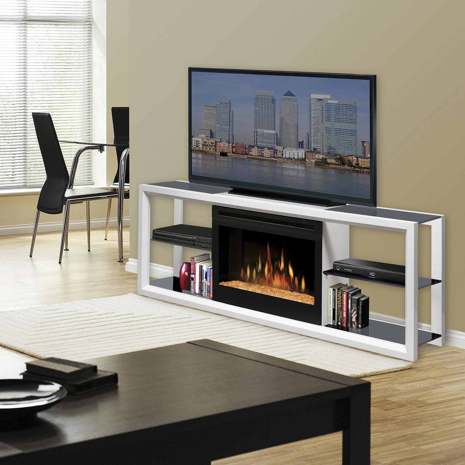 White Novara Electric Fireplace Media Centre by Dimplex