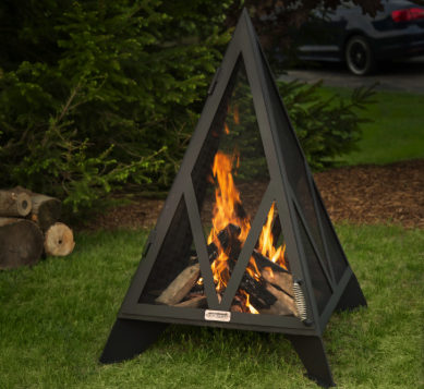 Black Pyramid Style Backyard Fire Pit on Grass