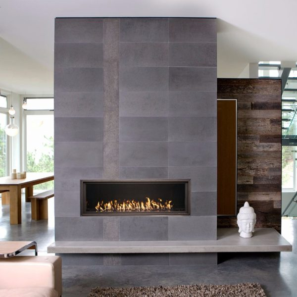 WS54 tile faced fireplace in a modern home