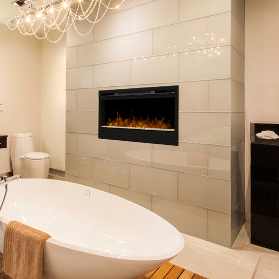 Wickson Wall Mounted Fireplace by DImplex in a bathroom