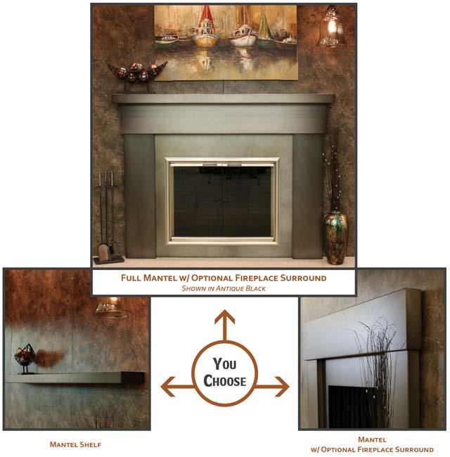steel fireplace mantle