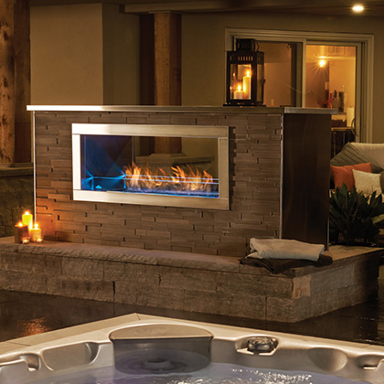 Galaxy Napoleon Gss48 See through outdoor gas fireplace