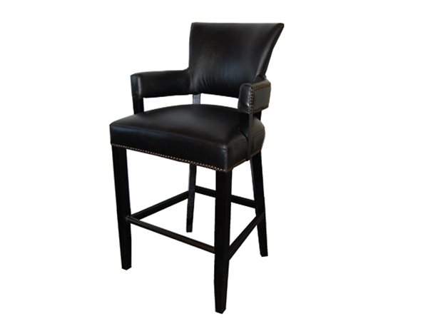 Norris Leather bar stool with arms by TW studio